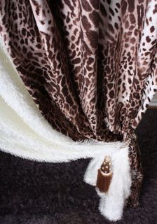 GORGEOUS Brown Suede Leopard Printed Cheetah Curtain Panel Room