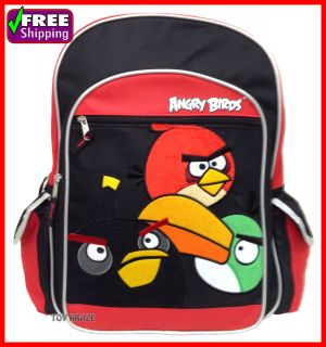 angry birds red black backpack 16 large school bag soft cloth 3 birds