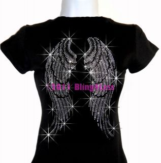 Large Angel Wings Rhinestone Iron On Black T Shirt   Pick Size S 3XL
