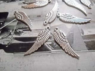 Angel Wing Charms Pendants 30mm Angel Wings Silver Wholesale Lot 25 50