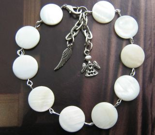/ Pearl Bracelet Wristband Guardian Angel & Wing Charms, Wedding
