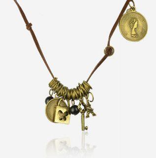 Retro Copper Key Multi Hoops Eiffel Tower Lock Necklace Pendant B563K