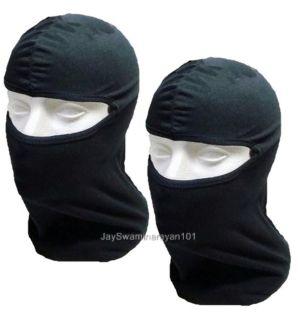 Lot of 2 Black Cotton Balaclava Ninja Mask Full Face Liner Helmet