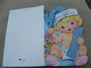 Vintage Greeting Card Babys 1st Birthday Teddy Bear Hat Child Boy