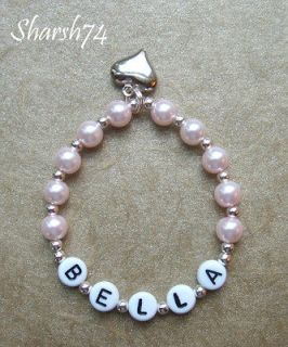 NeW Baby Child Girls Pink Pearl Silver Puff Heart Charm Boutique Name