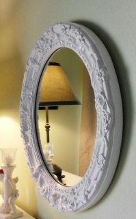 Glossy White French Country Oval Wall, Vanity Mirror ~ Ornate