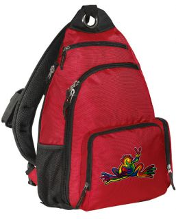 Peace Frog Sling Backpack Red BEST SINGLE STRAP BACKPACKS Unique Gifts