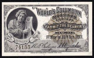 Handel COLUMBIAN EXPOSITION TICKET 1893 Chicago World Fair Ch CU ( 155