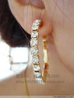 3cm diamante Clip on hoops earrings gold/ silvertone