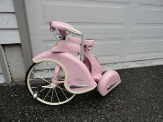 Powder Pink & Cream Steel Antique Style Tricycle Bike Girl with