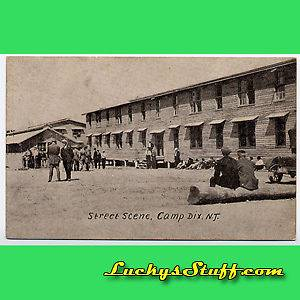 STREET SCENE Camp Dix NJ c1920 POSTCARD New Jersey Fort