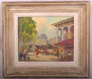 B1926 FRENCH IMPRESSIONIST OIL PAINTING PARIS STREET SCENE FIGURES