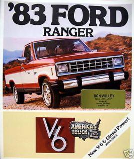 1983 Ford Ranger V6/Diesel pickup truck sales brochure