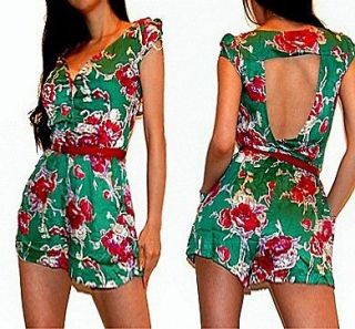 SEXY GREEN FLORAL PRINTED CUT OUT BACK BUTTONS FRONT ROMPER JUMPSUIT M