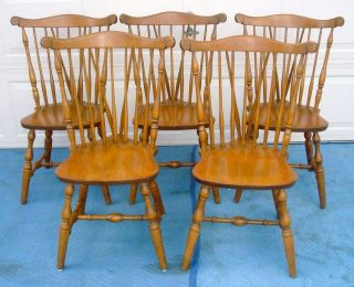 ... SET OF 5 BENT BROTHERS COLONIAL MAPLE WINDSOR SIDE CHAIRS ...
