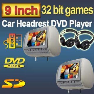 Gray Pair 9 Headrest Universal Car DVD Player TFT LCD Monitors