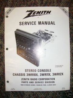 Zenith Car/Auto Stereo Console Service Manual Part List