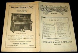 EARLY 1900s WERNER PIANO COMPANY OLD TIME MELODIES SONG BOOK PLAYER