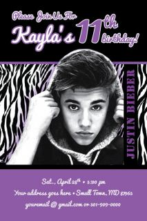 JUSTIN BIEBER Zebra Print Invitation 2012 Rock Star Band Birthday