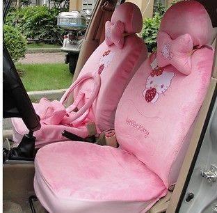 18pcs HelloKitty Auto Car Neckrest Front Rear Pink Seat Saddle Cover