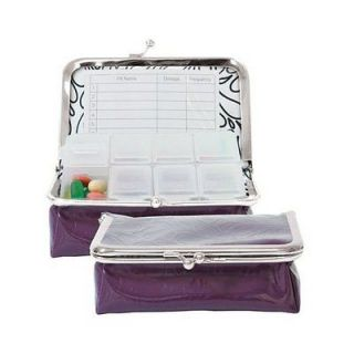 WELLSPRING LARGE PURPLE MULBERRY PILL BOX CASE TRAVEL VITAMINS