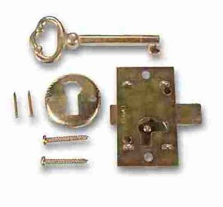 1B BRASS PLATED STEEL Flush Mount Cabinet Door Lock & Skeleton Key