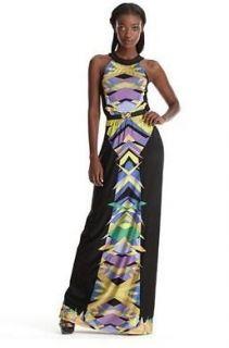 NEW* BCBG Bt Chambray Combo Jersey Maxi Dress (BELT) XS $278 RBS6I745