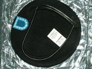 US ARMY BLACK BERET WITH BLUE FLASH WOOL HAT 6 5/8