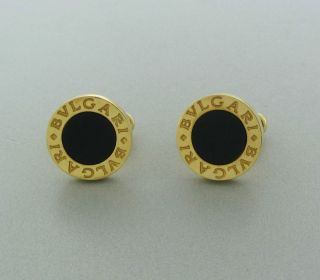 BVLGARI BULGARI 18K YELLOW GOLD ONYX CUFFLINKS