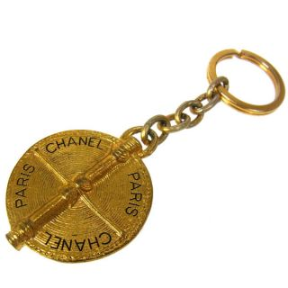 CHANEL Vintage CC Logos Key Chains Gold Tone Charm Keyring RR01363d