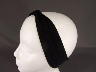 Black knot turban twist headband stretch jersey elastic 2.25 wide