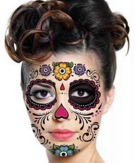 Day of the Dead Dia De Los Muertos Temporary Face TATTOO Sugar