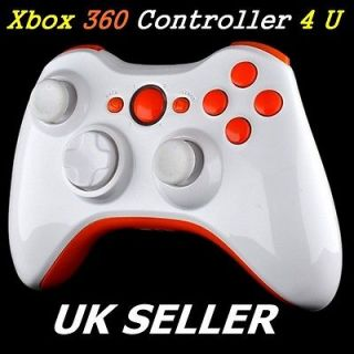 CUSTOM XBOX 360 POLISHED WHITE WIRELESS CONTROLLER SHELL CASE & ORANGE