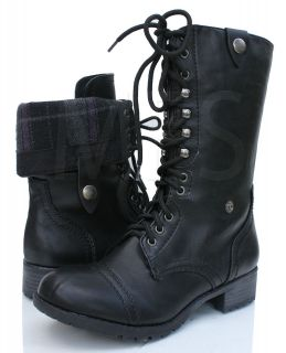Womens Black Lace up Combat Folded Cuff Riding Mid Calf Boots Soda