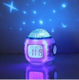 Children Room Sky Star Night Light Projector Lamp Bedroom Alarm Clock