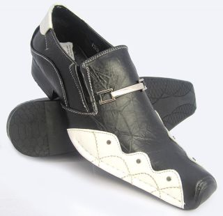 NEW STYLISH MENS ITALIAN LOAFERS JEANS FORMAL BLACK & WHITE DRESS