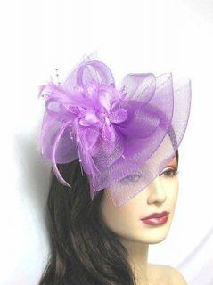 Hair Accessories purple Fascinator Hat Bow Shape Party Hair Clip