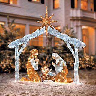 Twinkling Tinsel Nativity Family Outdoor Christmas Yard Decor