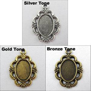 Silver,Gold,Bronze Tone Oval Picture Frame Charms Pendants L047
