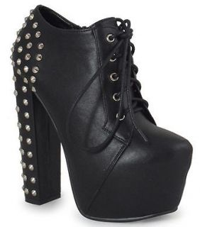 NEW WOMENS LADIES LACE UP PLATFORM BLOCK HEEL BOOTS, BLACK PU STUD