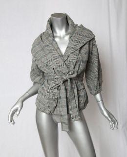 MARC JACOBS Plaid Oversized Shawl Collar / Hood Belted Wrap Jacket