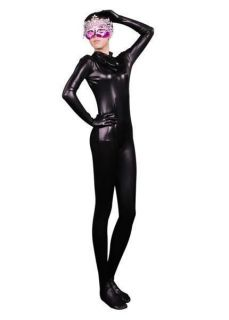 Black Shiny Metallic Lycra Full Body Unisex Zentai Suit Costume S XXL