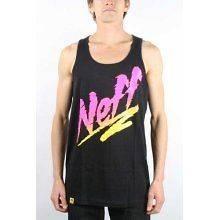 Neff Headwear The Ripper Mens Tank Top T Shirt Black w/ Pink & Yellow