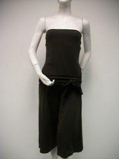 SUSANA MONACO Brown Knit Dress Size M Front Sash Tie Strapless Stretch