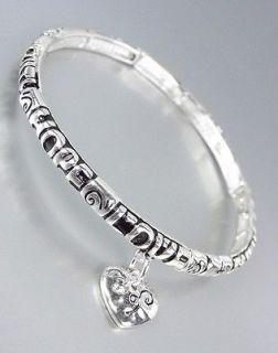 Thin Silver HOPE FAITH LOVE Heart Charm Stackable Stretch Bracelet