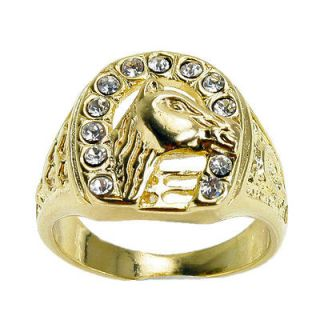 Crystal Rodeo Cowboy Western 18K Gold Filled Ring 9 USA SELLER
