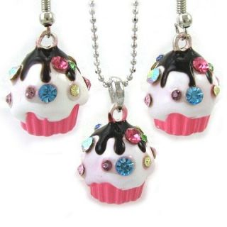 Colorful Multicolor Pink Cupcake Necklace Chain Dangle Earring Pendant