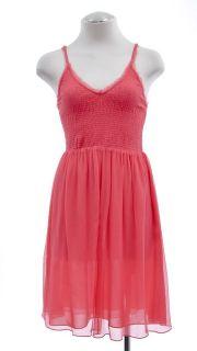 New REBECCA TAYLOR silk Smocked Cami DRESS Womens 8 Lipstick coral