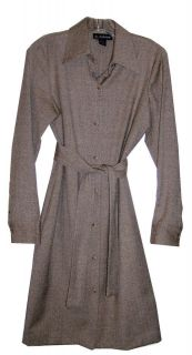 Very Nice Brown Wool/Silk Shirt Dress by Ellen Tracy / size 2