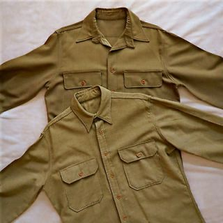WWII Authentic US ARMY Wool UNIFORM SHIRTS ~ Olive Drab ~TAG SIZE 15